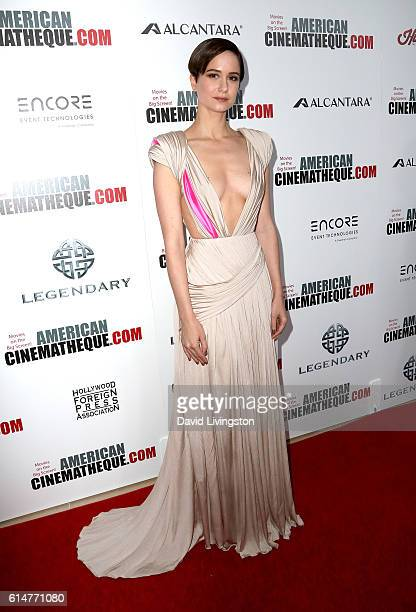 Actress Katherine Waterston arrives at the 30th Annual American Cinematheque Awards Gala at The Beverly Hilton Hotel on October 14 2016 in Beverly...