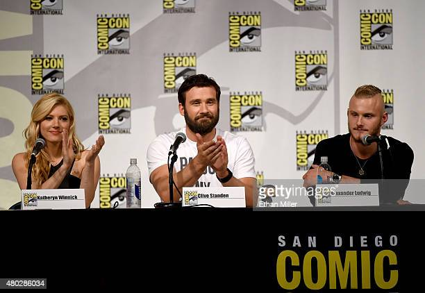 Actress Katheryn Winnick actor Clive Standen and actor Alexander Ludwig attend a panel for the History series 'Vikings' during ComicCon International...