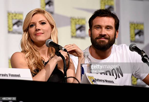 Actress Katheryn Winnick and actor Clive Standen attend a panel for the History series Vikings during ComicCon International 2015 at the San Diego...