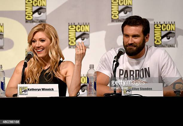 Actress Katheryn Winnick and actor Clive Standen attend a panel for the History series 'Vikings' during ComicCon International 2015 at the San Diego...