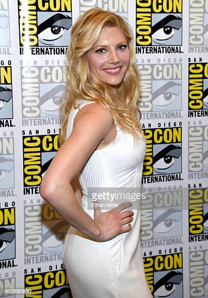 Actress Katheryn Winnick attends a media room for the History series 'Vikings' during ComicCon 2014 at the Hilton San Diego Bayfront hotel on July 25...
