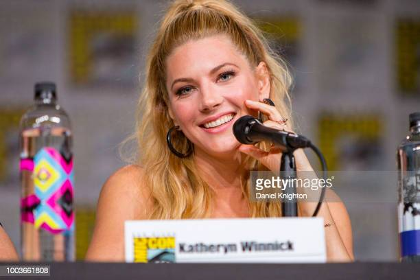 Actress Katheryn Winnick attends the Vikings panel at ComicCon International on July 20 2018 in San Diego California