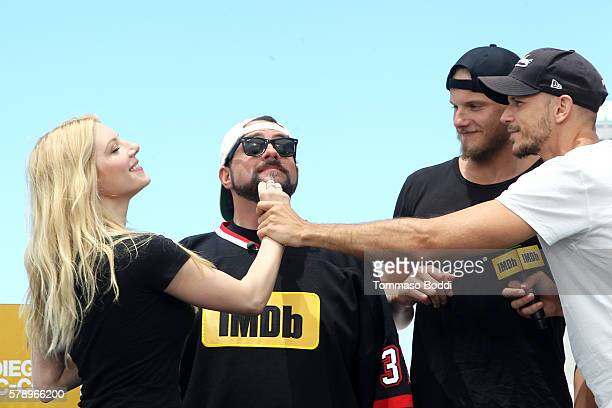 Actress Katheryn Winnick host Kevin Smith actors Alexander Ludwig and Gustaf Skarsgard of Vikings attend the IMDb Yacht at San Diego ComicCon 2016...