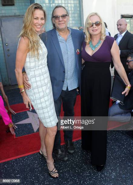 Actress Kathleen Kinmont director Gregory Nicotero and actress Traci Lords at the George A Romero star ceremony on the Hollywood Walk of Fame held on...