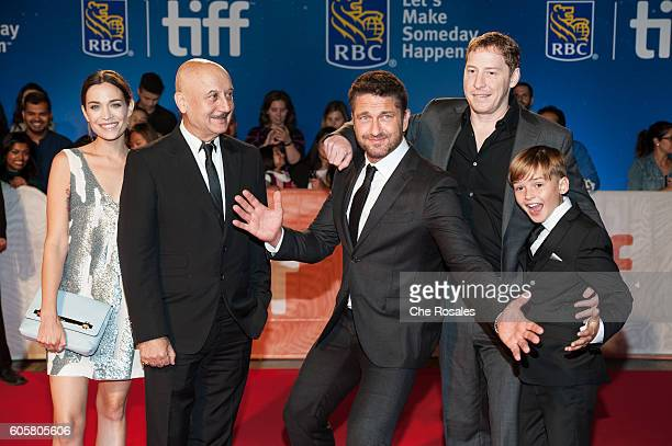 Actress Kathleen Munroe Actor Anupam Kher Actor Gerard Butler Director Mark Williams and Actor Maxwell Jenkins