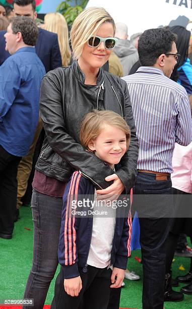 Actress Kathleen Robertson and son William Robert Cowles arrive at the premiere of Sony Pictures' 'The Angry Birds Movie' at Regency Village Theatre...