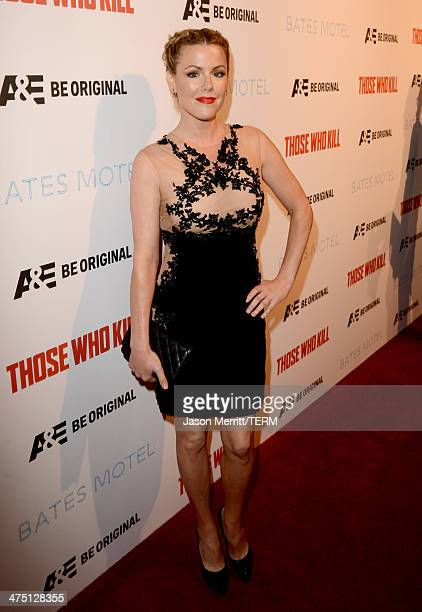 Actress Kathleen Robertson attends AE's 'Bates Motel' and 'Those Who Kill' Premiere Party at Warwick on February 26 2014 in Hollywood California