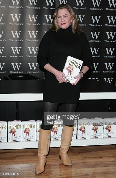 """Actress Kathleen Turner signs copies of her autobiography """"Send Yourself Roses: My Life, Love and Leading Roles"""" at Waterstone's on February 7, 2008..."""