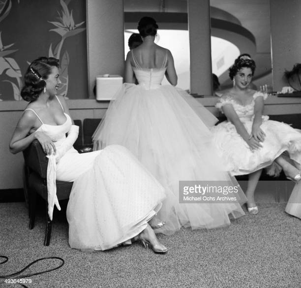 Actress Kathryn Grant with Tracy Morgan and Mara Corday attend the Makeup Artist Ball in Los Angeles California