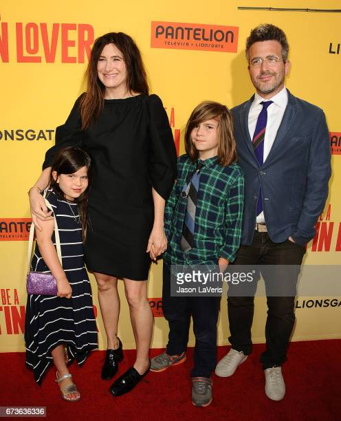 Actress Kathryn Hahn and actor Ethan Sandler and children attend the premiere of 'How to Be a Latin Lover' at ArcLight Cinemas Cinerama Dome on April...