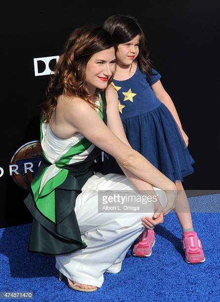 Actress Kathryn Hahn and daughter Mae Sandler arrive for the Premiere Of Disney's Tomorrowland held at AMC Downtown Disney 12 Theater on May 9 2015...