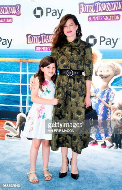 Actress Kathryn Hahn and daughter Mae Sandler attend the world premiere of Hotel Transylvania 3 Summer Vacation on June 30 2018 in Westwood California