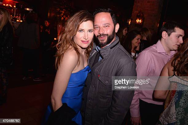 "Actress Kathryn Hahn and Nick Kroll attend the premiere of the SHOWTIME original comedy series ""HAPPYish"" at The Bowery Hotel on April 20 2015 in New..."
