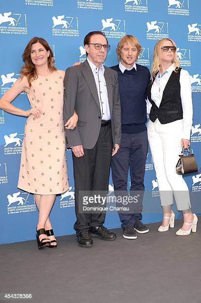 Actress Kathryn Hahn director Peter Bogdanovich actor Owen Wilson and Louise Stratten attend the 'She's Funny That Way' Photocall during the 71st...