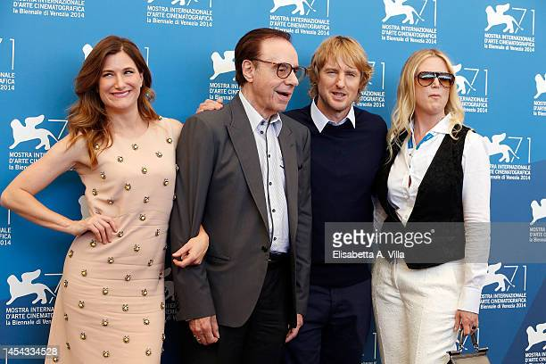 Actress Kathryn Hahn director Peter Bogdanovich actor Owen Wilson and screenplay Louise Stratten attend the 'She's Funny That Way' Photocall during...