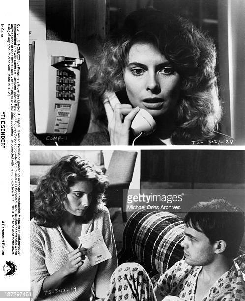 Actress Kathryn Harrold Actress Kathryn Harrold and actor Zeljko Ivanek on set of the Paramount Pictures movie The Sender in 1982