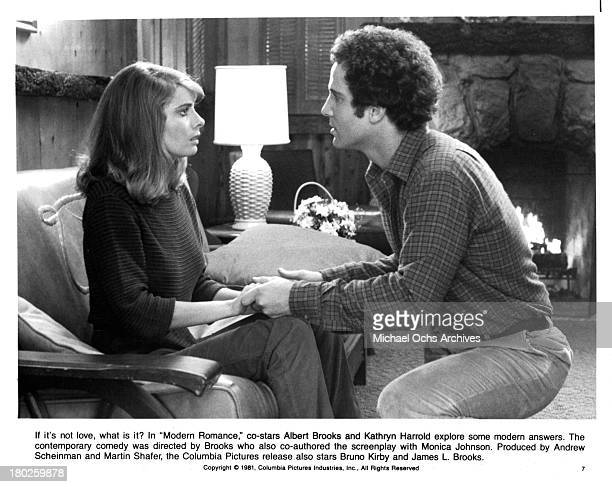 Actress Kathryn Harrold and Actor Albert Brooks on set on the Columbia Picture movie Modern Romance in 1981
