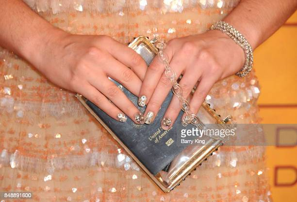 Actress Kathryn Newton jewelry and purse detail attends HBO's Post Emmy Awards Reception at The Plaza at the Pacific Design Center on September 17...