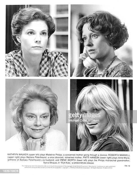 Actress Kathryn Walker and actress Roberta Maxwell actress Irene Worth and Patti Hanson on set for the United Artists movie Rich Kids in 1979