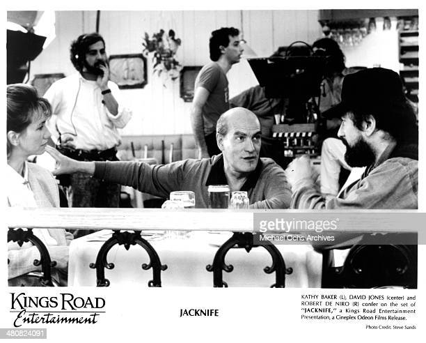Actress Kathy Baker director David Hugh Jones and actor Robert De Niro on the set of the movie Jacknife circa 1989