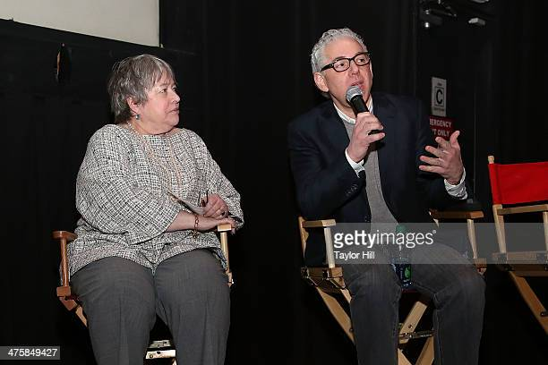 Actress Kathy Bates and director Robert May attend the Kids For Cash screening at AMC Village 7 on February 28 2014 in New York City