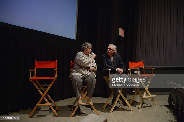Actress Kathy Bates and filmmaker Robert May take part in a QA following the Kids For Cash screening at AMC Village 7 on February 28 2014 in New York...