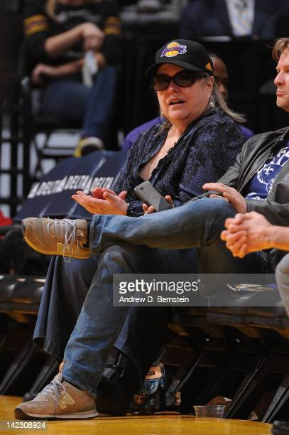 Actress Kathy Bates attends a game between the Golden State Warriors and the Los Angeles Lakers at Staples Center on April 1 2012 in Los Angeles...