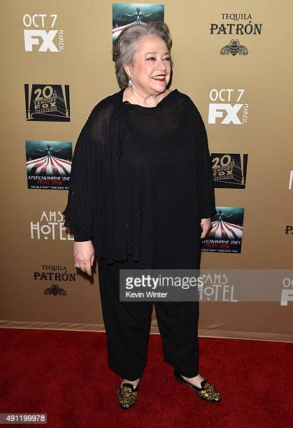 Actress Kathy Bates attends the premiere screening of FX's American Horror Story Hotel at Regal Cinemas LA Live on October 3 2015 in Los Angeles...