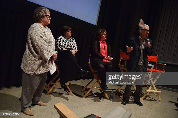 Actress Kathy Bates f ilm subjects Laurene Transue and Hilary Transue and filmmaker Robert May take part in a QA following the Kids For Cash...