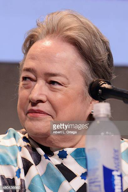 Actress Kathy Bates speaks onstage at the Entertainment Weekly Women Who Kick Ass panel during ComicCon International 2015 at the San Diego...