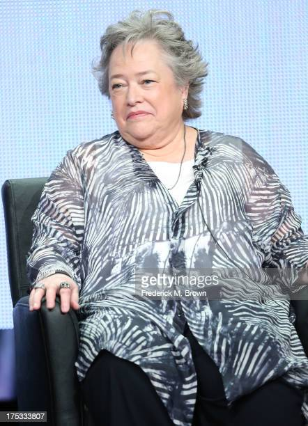 Actress Kathy Bates speaks onstage during the American Horror Story Coven panel discussion at the FX portion of the 2013 Summer Television Critics...