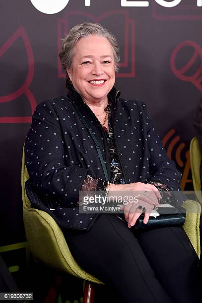 Actress Kathy Bates speaks onstage during the Ryan Murphy and Friends panel at Entertainment Weekly's PopFest at The Reef on October 30 2016 in Los...