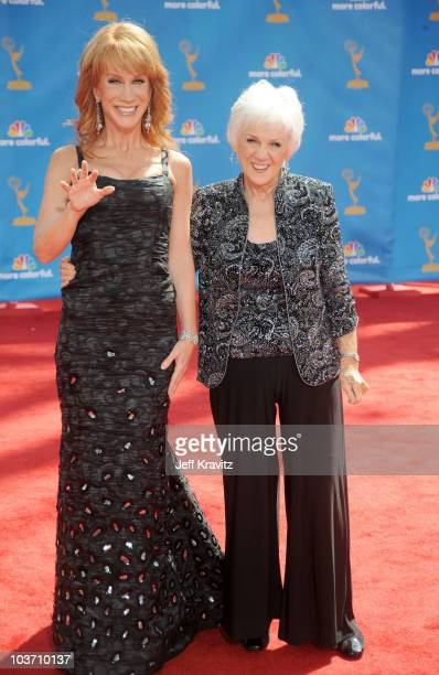 Actress Kathy Griffin and mother TV personality Maggie Griffin arrive at the 62nd Annual Primetime Emmy Awards held at the Nokia Theatre LA Live on...