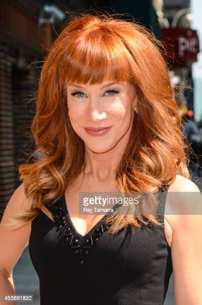 Actress Kathy Griffin enters the Late Show With David Letterman taping at the Ed Sullivan Theater on August 20 2014 in New York City