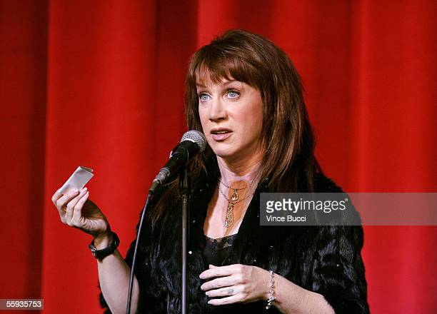 Actress Kathy Griffin is seen onstage during the Best In Drag Show 2005 held at the Wilshire Ebell Theater on October 16 2005 in Los Angeles...