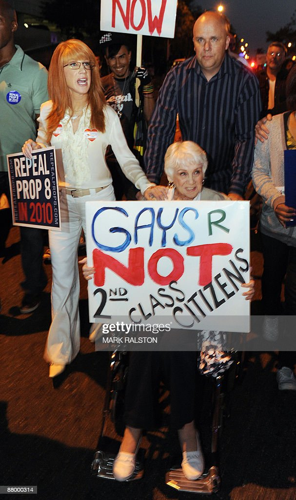 Actress Kathy Griffin (L) marches during a gay rights protest rally in Hollywood on May 26, 2009. California's Supreme Court upheld a referendum that outlawed gay marriage, but said 18,000 same-sex weddings carried out before the ban would remain valid. Gay and lesbian activists had sought to overturn the result of a November referendum, known as Proposition 8, which redefined marriage in California as being unions between men and women only. AFP PHOTO/Mark RALSTON
