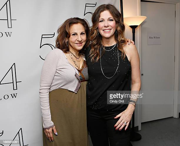 Actress Kathy Najimy poses with actress/ singer Rita Wilson following her performance at 54 Below on April 18 2013 in New York City
