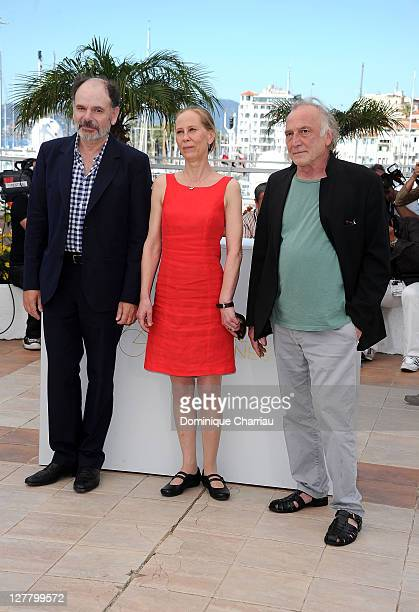 Actress Kati Outinen JeanPierre Darroussin and Blondin Miguel attends the 'La Havre' Photocall at the Palais des Festivals during the 64th Cannes...
