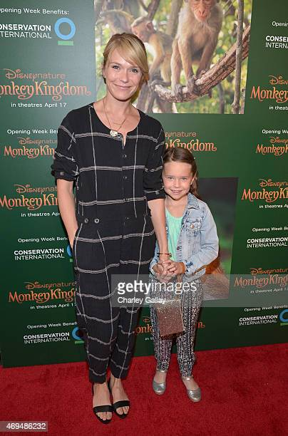 Actress Katie Aselton and daughter Ora Duplass attend the world premiere Of Disney's Monkey Kingdom at Pacific Theatres at The Grove on April 12 2015...