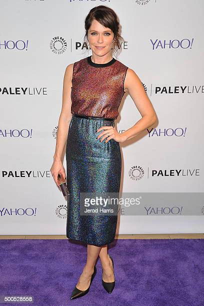 Actress Katie Aselton arrives at PaleyLive LA 'The League' A Fond Farewell at The Paley Center for Media on December 8 2015 in Beverly Hills...