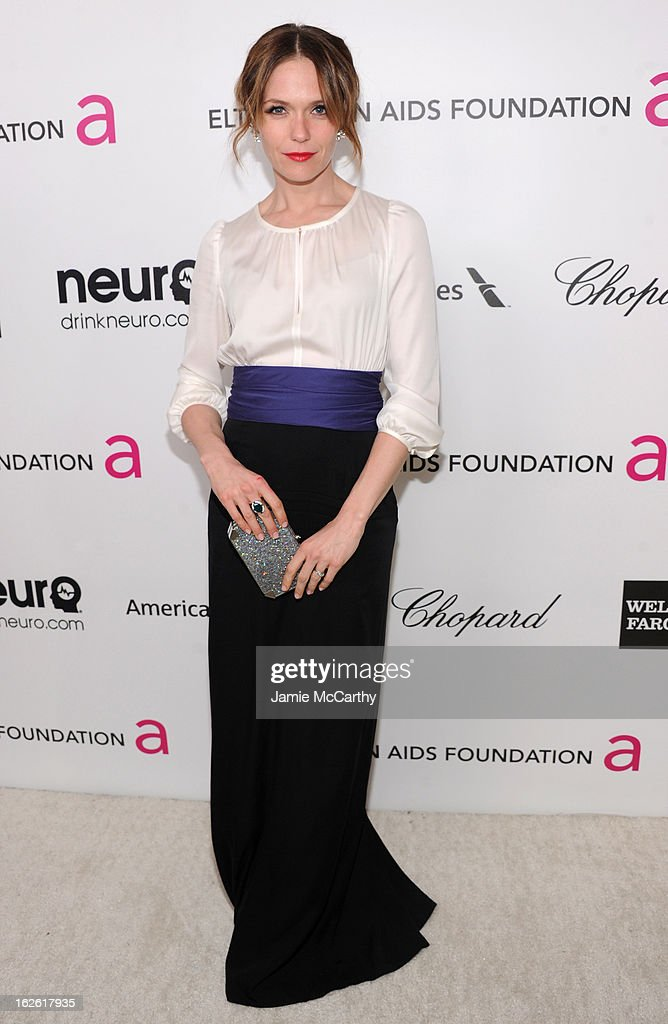 Actress Katie Aselton attends the 21st Annual Elton John AIDS Foundation Academy Awards Viewing Party at West Hollywood Park on February 24, 2013 in West Hollywood, California.