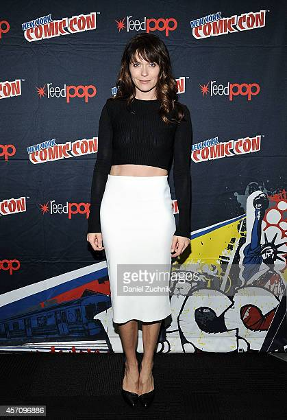 Actress Katie Aselton attends The League press room at 2014 New York Comic Con Day 3 at Jacob Javitz Center on October 11 2014 in New York City