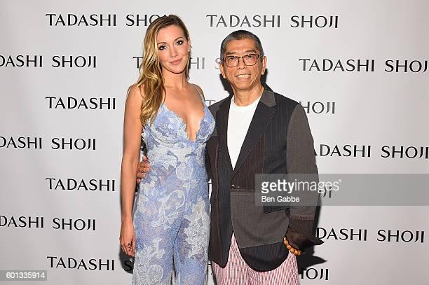 Actress Katie Cassidy and designer Tadashi Shoji pose backstage at the Tadashi Shoji fashion show during New York Fashion Week The Shows at The Arc...