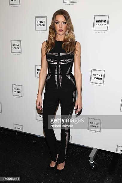 Actress Katie Cassidy poses backstage at the Herve Leger By Max Azria fashion show during MercedesBenz Fashion Week Spring 2014 at The Theatre at...
