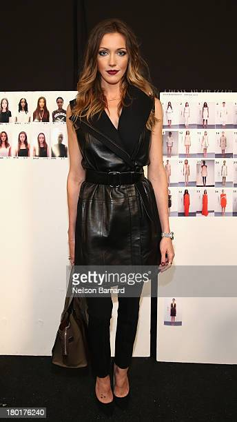 Actress Katie Cassidy poses backstage at the Kaufmanfranco fashion show during MercedesBenz Fashion Week Spring 2014 at The Theatre at Lincoln Center...