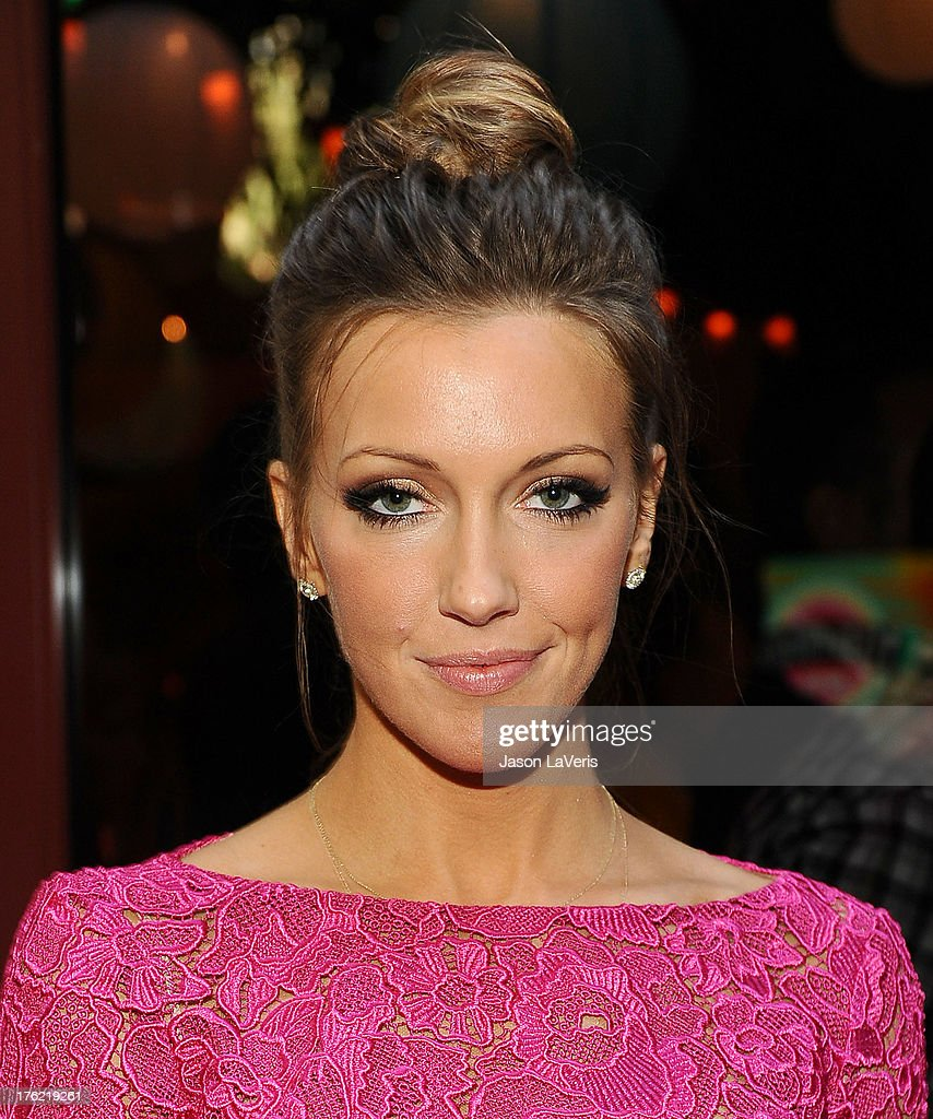Actress Katie Cassidy poses in the green room at the 2013 Teen Choice Awards at Gibson Amphitheatre on August 11, 2013 in Universal City, California.