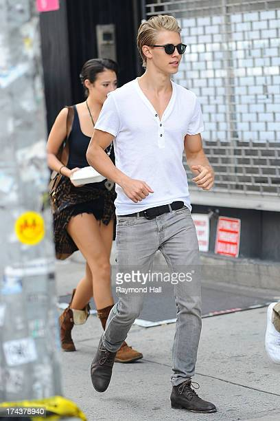 Actress Katie Findlay and Austin Butler are seen on the set of 'Carrie Diaries' on July 24 2013 in New York City