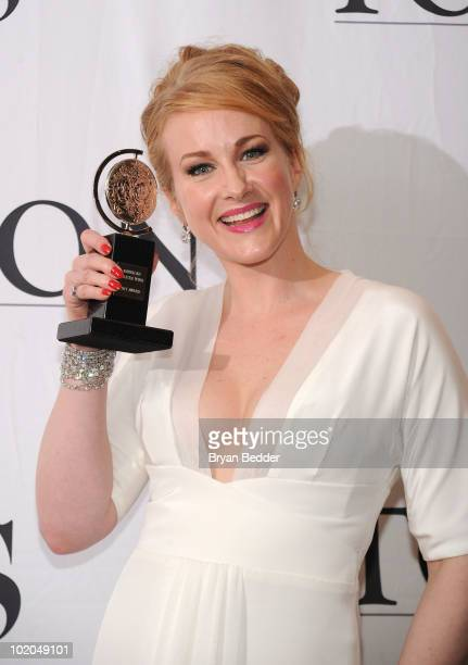 Actress Katie Finneran poses with her award for Best Performance by a Featured Actress in a Musical at the 64th Annual Tony Awards at The Sports...