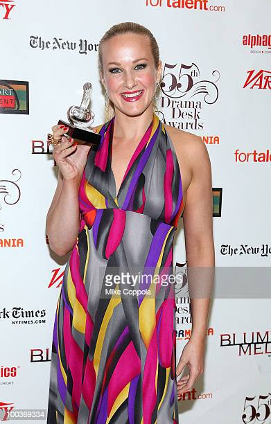 Actress Katie Finneran receives an award at the 55th Annual Drama Desk Awards at the FH LaGuardia Concert Hall at Lincoln Center on May 23 2010 in...