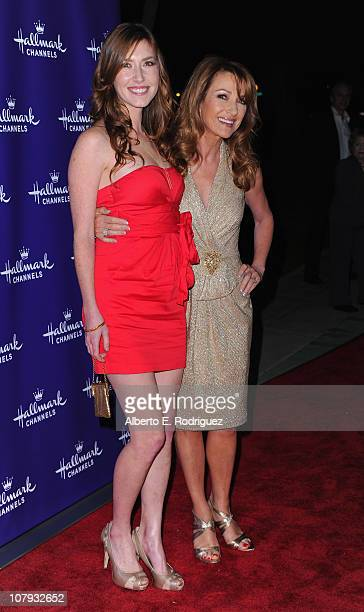 Actress Katie Flynn and mother actress Jane Seymour arrive to Hallmark Channel's 2011 TCA Winter Tour Evening Gala on January 7 2011 in Pasadena...